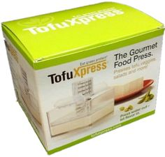 Gourmet Tofu Press/Food Press - Clear - w/Light Tension Attach. TofuXpress removes moisture from tofu, yogurts, and more automatically. Grilled Tofu, Baked Tofu, Kitchen Necessities, Kitchen Essentials, Vegan Essentials, Gourmet Cooking, Gourmet Recipes, Cooking Tofu, Kitchen Time