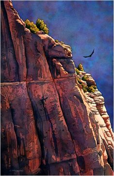 Soaring - Jonathan Frank -  Watercolor Landscapes We saw the condors soaring when we visited both Zion and The Grand Canyon a couple of years ago.  This reminded me of that experience.  Wonderful.