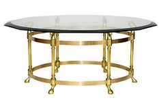LaBarge Brass Swan-Motif Coffee Table on OneKingsLane.com