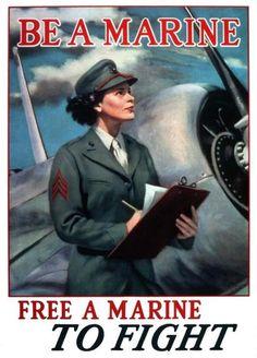 Women Marine Corps recruiting poster