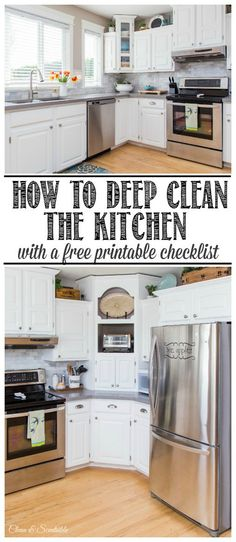 Everything you need to know to deep clean your kitchen from top to bottom. Free printable included too!