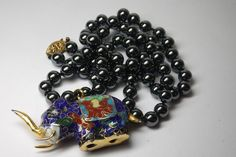 VINTAGE CHINESE HAND KNOTTED HEMATITE BEAD NECKLACE/ CLOISONNE ELEPHANT PENDANT #Unbranded