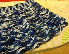 Falda niña talla 6/8 años hilo algodon matizado azul