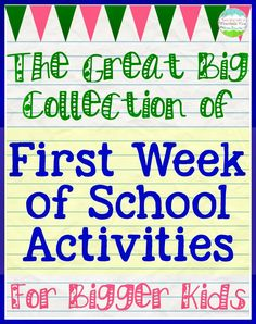 "Day of School Activities for Big Kids First Day (or week) of School Activities. I really like ""Can You Save Fred"" From: Teaching With a Mountain View: First Day of School Activities for Big KidsFor For or FOR may refer to: First Week Of School Ideas, Beginning Of The School Year, New School Year, School Fun, School Days, High School, Back To School Ideas For Teachers, Back To School Crafts For Kids, School Stuff"