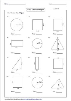 A vast collection of worksheets on geometrical shapes in both customary and metric units.