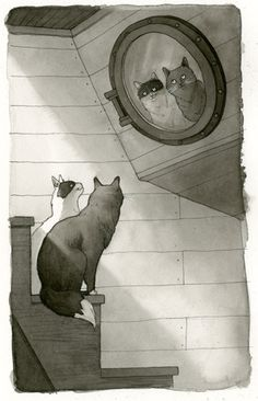 Kelly Murphy Illustration | Ink Wash Paintings for Anton and Cecil: Cats at Sea
