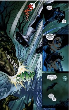 Can we just take a moment to appreciate mini-assassin Damian Wayne screaming for his mommy before Nightwing plucks him from Croc's mouth? (Battle for the Cowl #1)