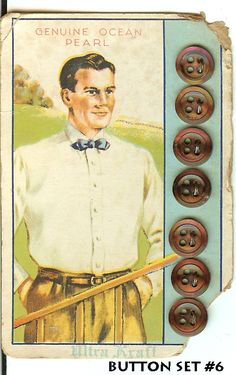 ButtonArtMuseum.com - Antique Dark MOP Shell Buttons on Original Color Graphic Card Man with Bowtie