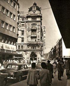 """Belgrade in 1976, Street Knez Mihajlova, Restaurant """"Zagreb"""", Yugoslavia"""