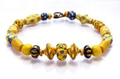 Yellow Colorful Statement Beaded Necklace, Paper Mache, Hand Made. Yellow & Blue Palette
