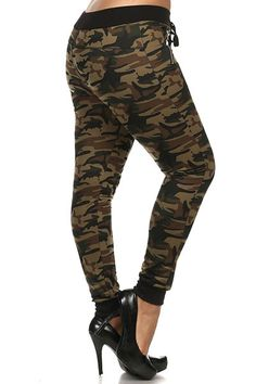 women's plus size camouflage drawstring jogger pants with band cuffs Jogger Pants, Joggers, Sweatpants, Camouflage Jeans, Plus Size Pants, Yoga Pants, Plus Size Fashion, Summertime, Cuffs