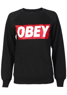 Obey Sweatshirt in Black - Womens Clothing Sale 127f125f64fc7
