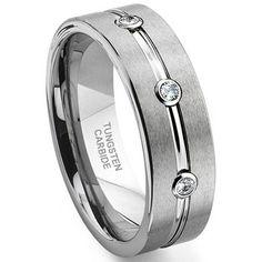 Tungsten Carbide Diamond Ribbed Wedding Band Ring