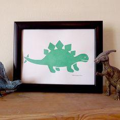 Dinosaur Print, Kids Wall Art, Handprinted Stegosaurus Print, Boys Bedroom Print, Kids Room Decor, Green Dinosaur, Relief Print, Nursery Art