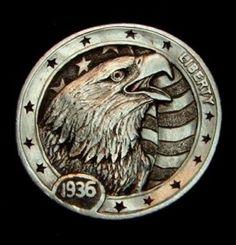 """Proclaiming Freedom"" Hobo Nickel carved by Howard Thomas - photo from Hobo Nickel Art"