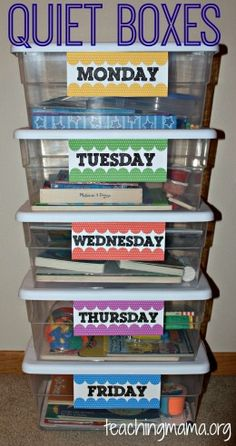 Quiet boxes. What a cool idea to keep kids from getting bored with activities. Each box is filled with different goodies and they only come out on their labeled day! The kids might even look forward to quiet time on the day their favorite activity comes out!