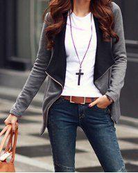 Stylish Turn-Dwon Collar Long Sleeve Zippered Coat For Women 15.00