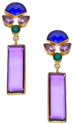 Kanupriya Linear Amethyst Gemstone Earrings