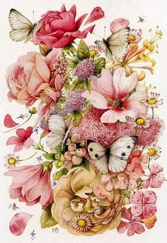 Illustration/Painting by Marjolein Bastin Art And Illustration, Illustrations, Art Floral, Art Et Nature, Nature Artists, Images Victoriennes, Graffiti Kunst, Marjolein Bastin, Dutch Artists