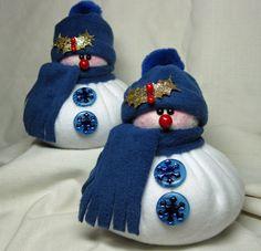 FLEECE SNOWMAN DECORATION Little Bits Snowmen in Dark Blue Set of 2