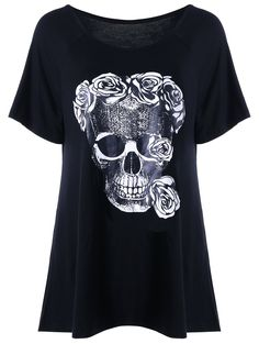 SHARE & Get it FREE   Skull Rose Print Relaxed T-shirtFor Fashion Lovers only:80,000+ Items • New Arrivals Daily • Affordable Casual to Chic for Every Occasion Join Sammydress: Get YOUR $50 NOW!