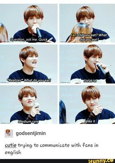 Taehyung trying to communicate in english..... Hahaa I thought of D.O. when he said the same thing! XD