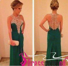 Dark Green Prom Dress Modest Long Emerald Green Chiffon Hunter Evening Dress - Thumbnail 2