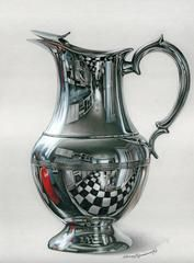 Internal Life of the Jug: Colored pencil drawing by Irina Garmashova-Cawton. The beauty of well-drawn silver. http://annkullberg.com/pages/membershow16