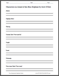 Island of the Blue Dolphins Worksheets - These free printable ...