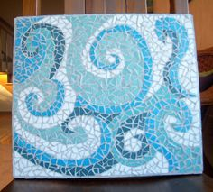 flowing currents abstract mosaic in blue, aqua & white ocean colors