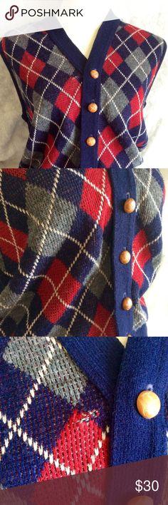 "Vintage Men's 1960's Argyle Blair V-neck Sweater 100% Acrylic Argyle Machine Wash V-Neck Cardigan Sweater Vest Colors:Navy, Red, White, Gray Outside Measurements: Chest: 40"" Back: 15"" Length: 24"" Vintage Sweaters Cardigans"
