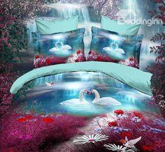 Swan lake red blue bedding set queen size quilt duvet cover bed in a bag sheets bedspread bedroom linen bedclothes animal Blue Bedding Sets, Queen Bedding Sets, Bed Covers, Duvet Cover Sets, Animal Print Bedding, Queen Size Quilt, 3d Quilts, Bedclothes, Linen Bedroom
