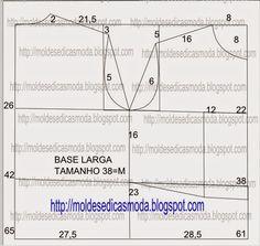 Moldes Moda por Medida: MOLDE BASE CAMISA TAMANHO 38