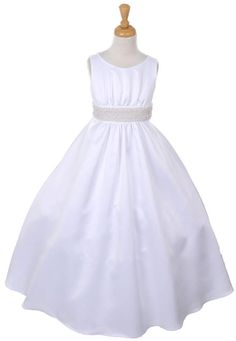 294d03cbe19 Fashion Plaza Girls Pearl Beaded Satin First Communion Pageant Dress 4 White  -- Learn more by visiting the image link.