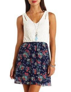 floral print & lace sleeveless dress