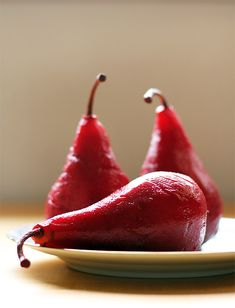 Pomegranate poached pears