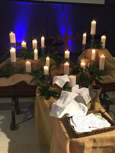 All Saints Sunday.a candle for each person remembered Church Altar Decorations, Church Candles, Christmas Decorations, Altar Design, Church Design, Alter Decor, Liturgical Seasons, All Souls Day, All Saints Day