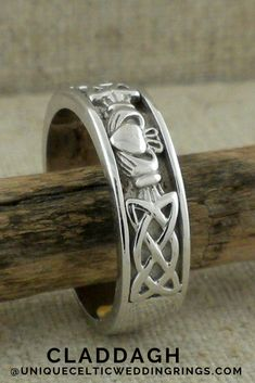 Men's Claddagh & Celtic Knot Wedding Ring Men's Claddagh & Celtic Knot Wedding Ring — Unique Celtic Wedding Rings Stacked Wedding Rings, Celtic Wedding Rings, Cool Wedding Rings, Wedding Ring For Men, Wedding Stuff, Irish Wedding, Wedding Ideas, Blue Wedding, Wedding Things