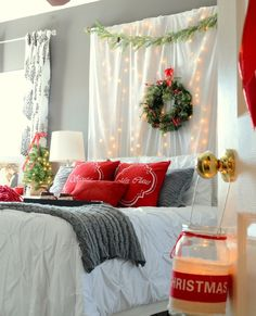 Romantic Christmas Bedroom Love The Lights Behind The Curtains Part 79