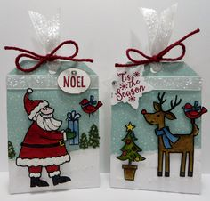 Stampin' Up Santa's Gifts Tic Tac Treat Holders created by Lynn Gauthier using SU's Santa's Gifts, Happy Scene's and Peaceful Pines Stamp Sets and SU's Sleigh Ride Edgelits Dies.  Go to http://lynnslocker.blogspot.com/2015/11/stampin-up-santas-gifts-treat-holders_10.html for instructions on how to make this project!
