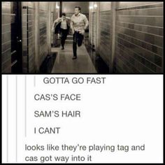Sam and Castiel | Supernatural fandom I now NEED a scene in which the boys all play tag together in the Bunker and Cas takes it all seriously. Lol