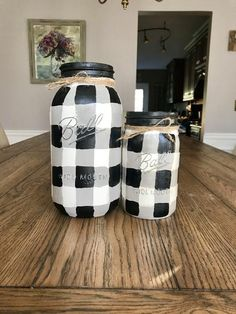 b61fe00ac1b0 Black and White Gingham - Buffalo Plaid Mason Jars