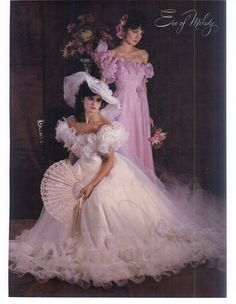Bride's Magazine February March Of course this is 36 years old. Eve Of Milady Wedding Gowns, Types Of Wedding Gowns, 1980s Wedding Dress, Wedding Dress Sleeves, Vintage Bridal, Vintage Weddings, Pretty Quinceanera Dresses, Wedding Bride, Bridal Dresses