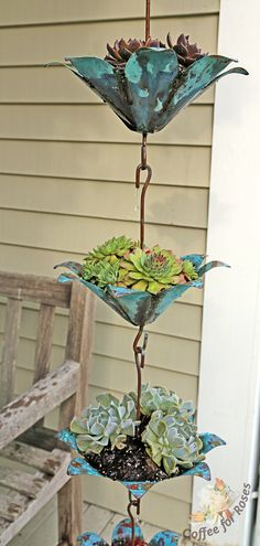 Plant a Rain Chain with succulents! #gardening crafts
