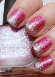Pink ombre glitter french tip! I don't like my nails fully coloured, but I could certainly do this on my toes, Get Nails, Love Nails, How To Do Nails, Pretty Nails, Hair And Nails, Pink Nails, Gradient Nails, Glitter Acrylics, Acrylic Nails