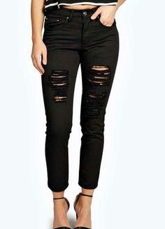 Kup mój przedmiot na #Vinted http://www.vinted.pl/damska-odziez/dzinsy/8899042-78-ripped-boyfriend-black-jeans