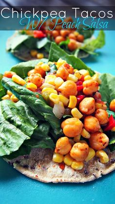 Chickpea Tacos With Peach Salsa - Fast and Healthy Vegan Dinner. Budget Friendly as Well! I love peach salsa 😍 Quesadillas, Chickpea Tacos, Vegan Tacos, Healthy Cooking, Healthy Eating, Vegetarian Recipes, Healthy Recipes, Vegan Vegetarian, Healthy Foods