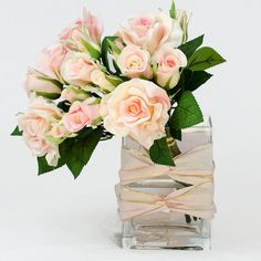 Real Touch Pink Roses Arrangement in Tall Square Glass Vase Artificial Roses Faux Arrangement for Home Decor on Etsy, $75.00
