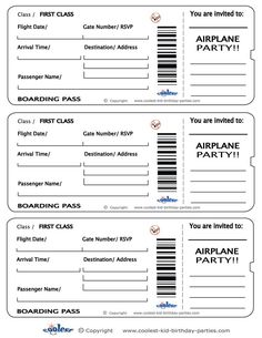 Free Printable Airline Ticket  Airline Ticket Invitation Template