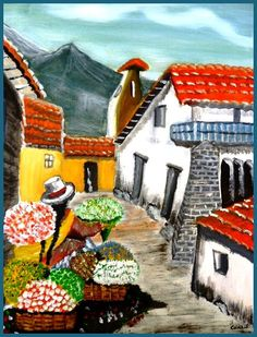 Pintura al Oleo Florista Andina floristas Canvas por elinca24Studio